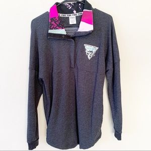 VS PINK Collared Sequin Statement Long Sleeve Tee